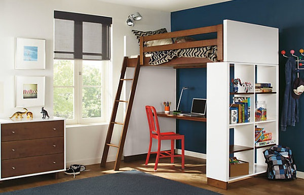 Th loft bed with desk underneath
